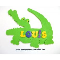 plaque prénom petit crocodile