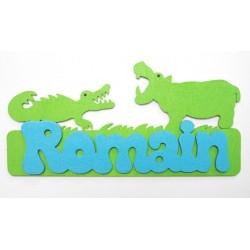 Plaque hippopotame-crocodile